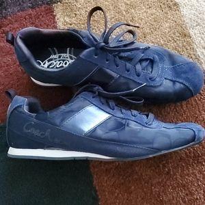 Coach   Navy Canvas Suede Sneakere   Size 7 5